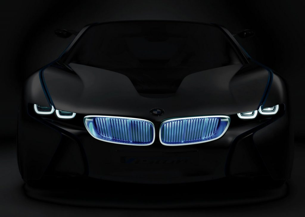 Front view of BMWi8 with recognizable identity