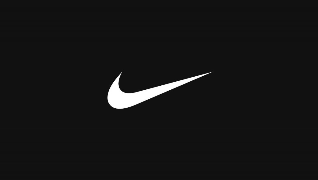 White Nike logo on black background