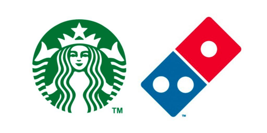 Memorable Starbucks & DominoPizza logo