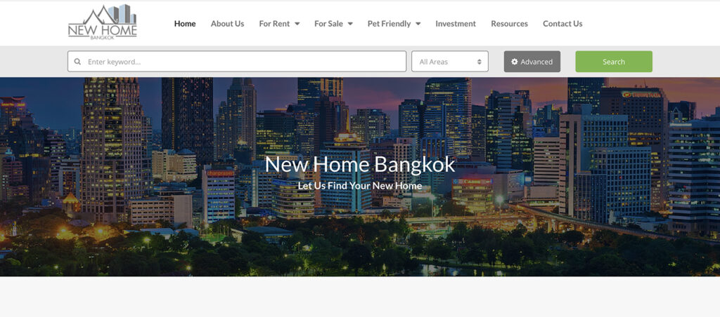 New Home Bangkok Website Headline