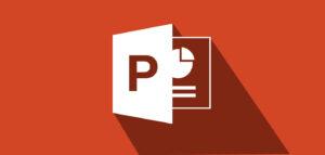 ภาพไอคอน PowerPoint บนพื้นหลังสีแดง